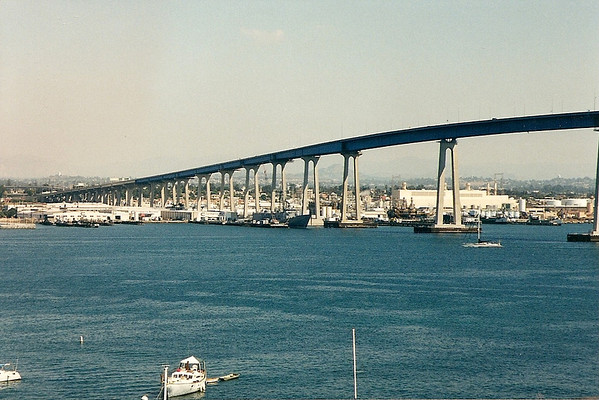 Coronado Bay Bridge, 1998. View from Coronado Island.