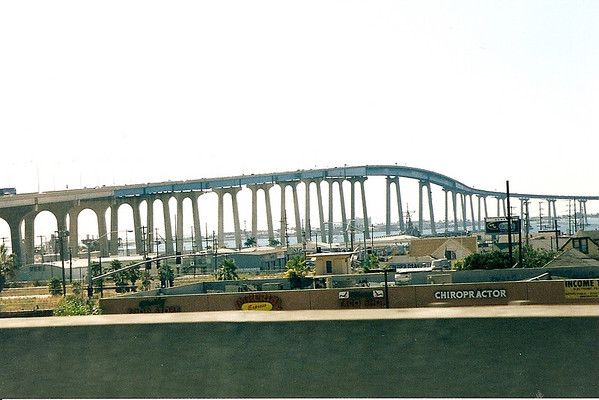 Coronado bay bridge as seen from I-5, circa 1998