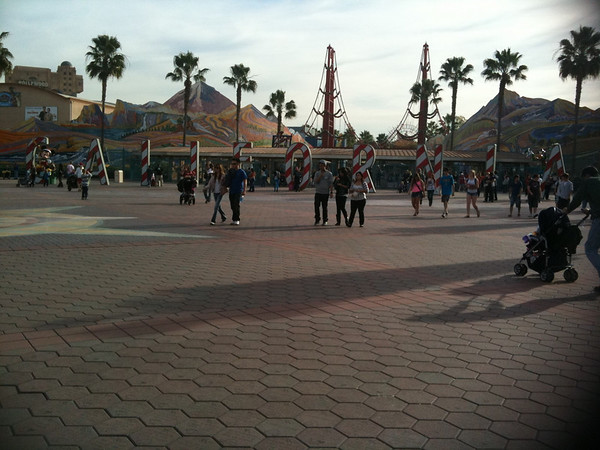 Disney California Adventure during the holidays.  Candy cane California...