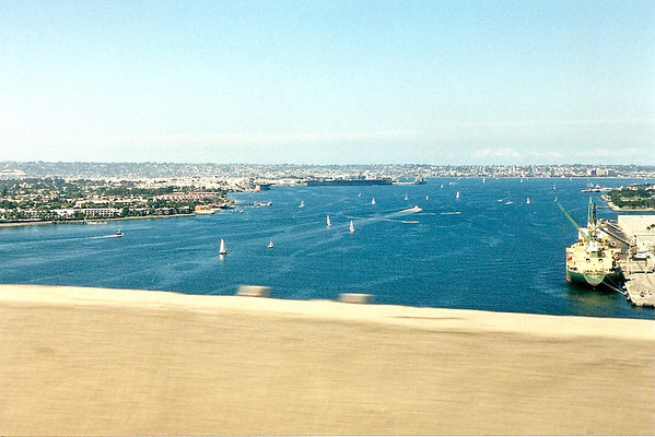 View of the harbor from Coronado Bay Bridge, 1998.