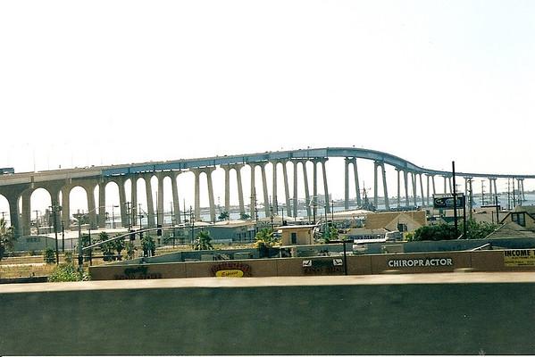 Coronado bay bridge as seen from I-5, circa 1998